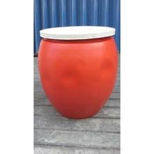 produk plastik rumah tangga Gentong air plastik warna merah volume 60 liter merk AG