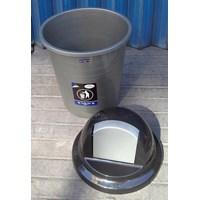 Jual produk plastik rumah tangga Tong Sampah plastik colombia 60 liter Silver 3208 TS Lucky Star 2