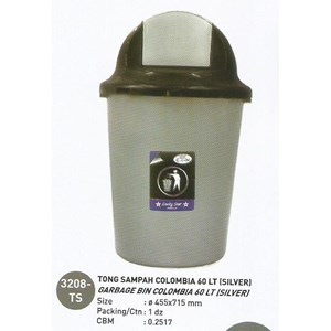 produk plastik rumah tangga Tong Sampah plastik colombia 60 liter Silver 3208 TS Lucky Star