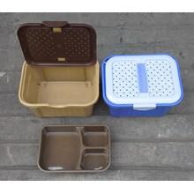 produk plastik rumah tangga Box plastik segi cantik hakone coklat ungu b005 Surya plast