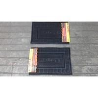 Distributor produk karet rumah tangga keset karet antislip hitam airbrush welcome merk supra 3