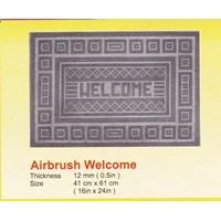 produk karet rumah tangga keset karet antislip hitam airbrush welcome merk supra