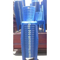 Kursi makan plastik kode 208 merk napoli warna biru