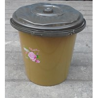 alat dapur lainnya ember plastik 2.5 galon clarita coklat plus tutup 1