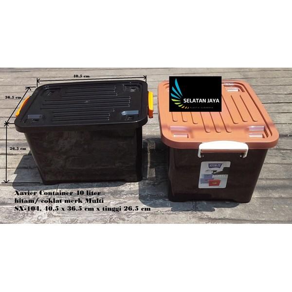 Box plastik xavier container  office 40 liter hitam coklat SX 104 merk multi
