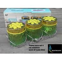 Toples kaca set 3 dengan rak stainless merk AF S311 1