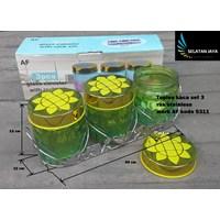 Jual Toples kaca set 3 dengan rak stainless merk AF S311 2