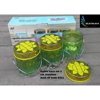 Distributor Toples kaca set 3 dengan rak stainless merk AF S311 3
