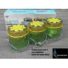 glass jar with stainless rack set of 3of AF S311 brand