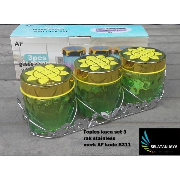 Toples kaca set 3 dengan rak stainless merk AF S311