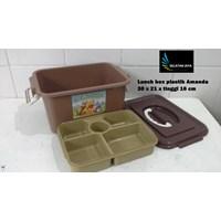 Distributor produk plastik rumah tangga Lunch box Amanda tempat selamatan syukuran plastik coklat 3