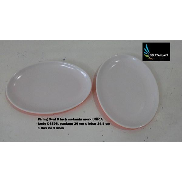 piring dan mangkok saji Piring oval melamin 8 inch merk UNICA kode D8808 putih orange