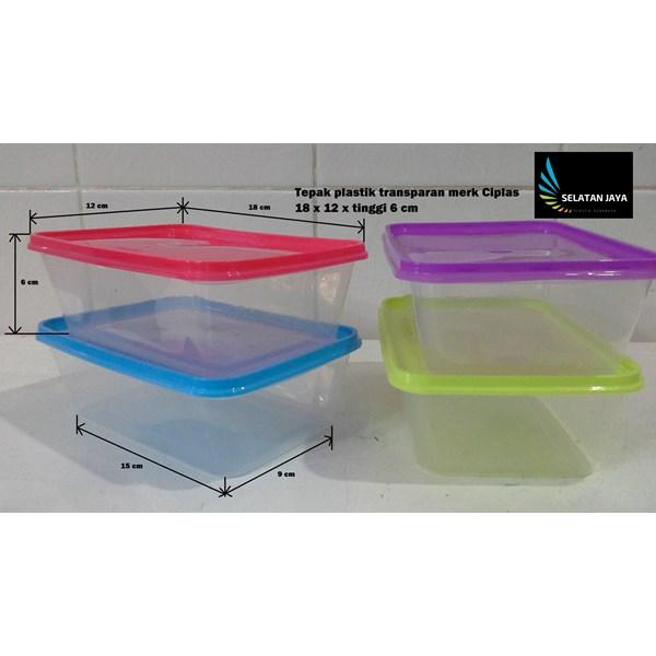 Tepak plastik murah transparan merk ciplas tutup merah biru kuning ungu