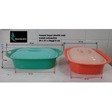 produk plastik rumah tangga Tempat Sayur Plastik segi wadah selamatan warna hijau oranye