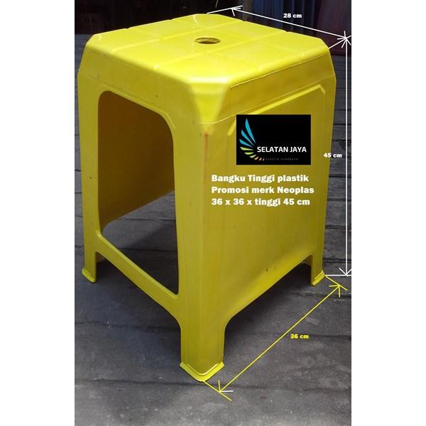 Kursi plastik bangku tinggi promosi Neoplas kuning hijau merah biru
