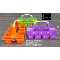 Distributor keranjang Rak Aqua gelas plastik isi 8 merk Lucky Star kode 7708 3
