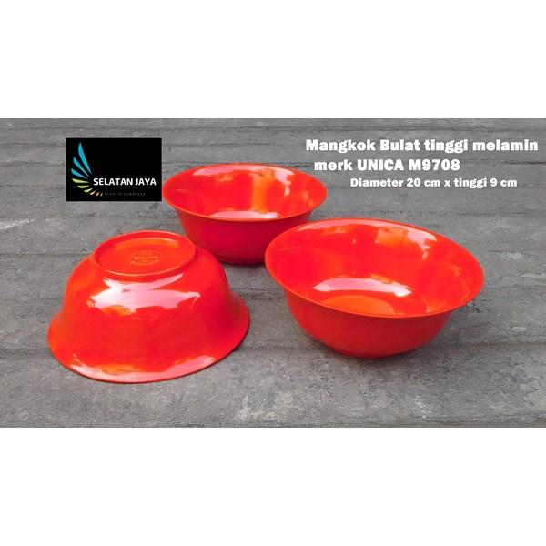 Mangkok Bulat plastik Melamin 8 inch Unica kode M9708 merah