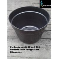 Jual vas dan pot bunga Pot bunga plastik motif hitam polos 35 merk EKO harga  murah 91a1bd93e0
