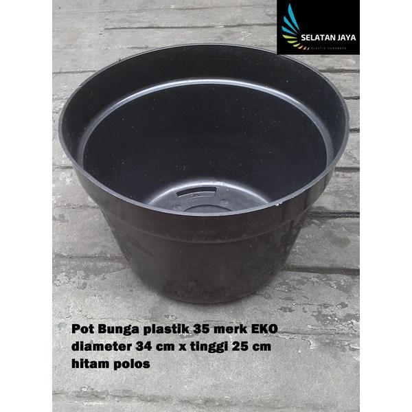vas dan pot bunga Pot bunga plastik motif hitam polos 35 merk EKO harga murah