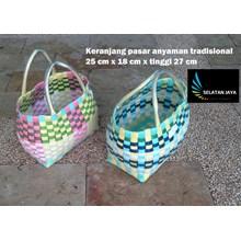 Produk Plastik Rumah Tangga Keranjang pasar anyaman tradisional plastik ukuran kecil