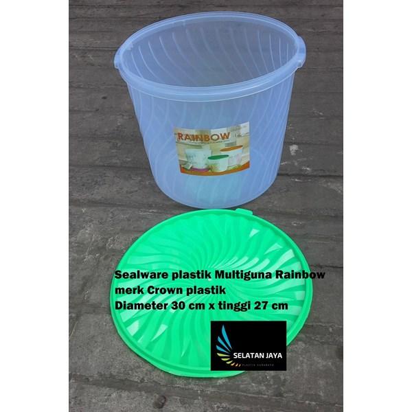 Produk Plastik Rumah Tangga Sealware plastik 16 liter atau toples plastik serbaguna Rainbow merk Crown