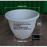 Jual Vas dan Pot Bunga Pot plastik besar glory no 60 warna putih merk KB Shallom