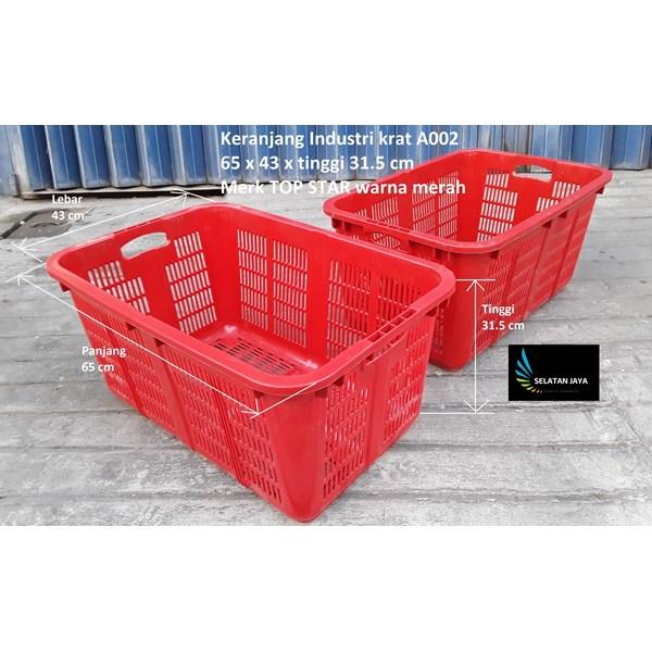 Keranjang Plastik  Industri krat lubang A002 merah merk TOP STAR
