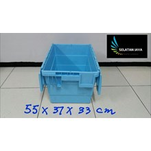 Box Container Office Box plastik warna biru distibusi ke toko cabang