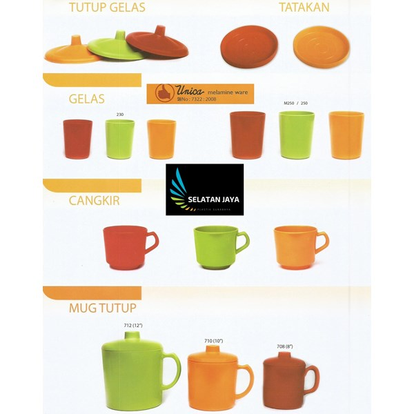 Unica branded melamine plastic mug cup
