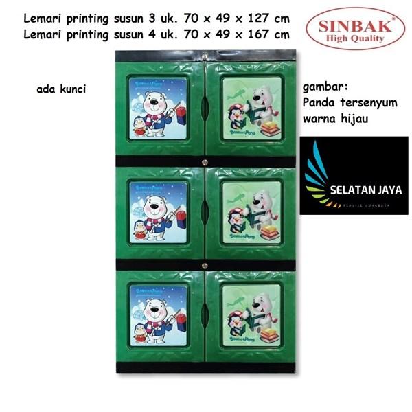 Lemari plastik printing susun 3 tebal kuat merk Sinbak