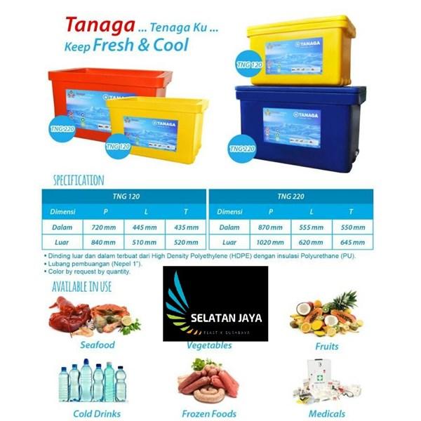 Cooler box plastik TNG 220 tebal kuat besar merk tanaga