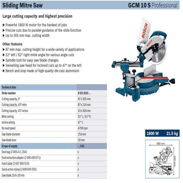 Cut machine Bosch GCM 10 S