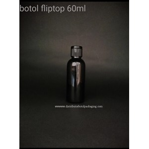 Botol Fliptop 60ml Hitam Solid
