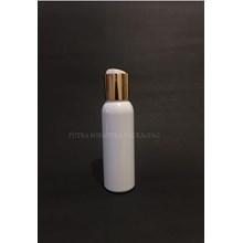 Botol Disctop 100 ml Putih Tutup Aluminium Gold tutup Metal Import