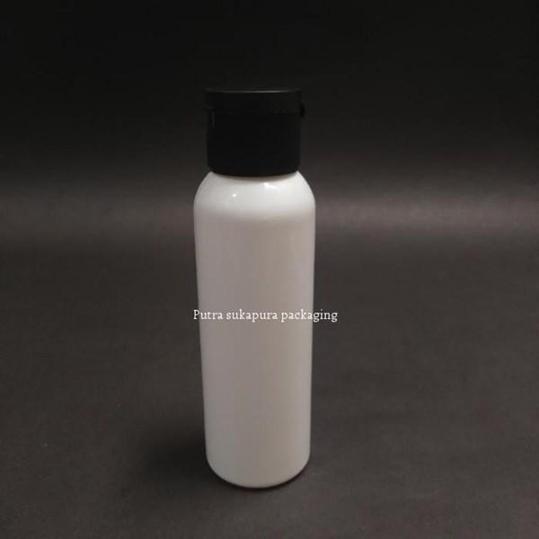 Botol Fliptop 100 ml Putih Tutup Hitam