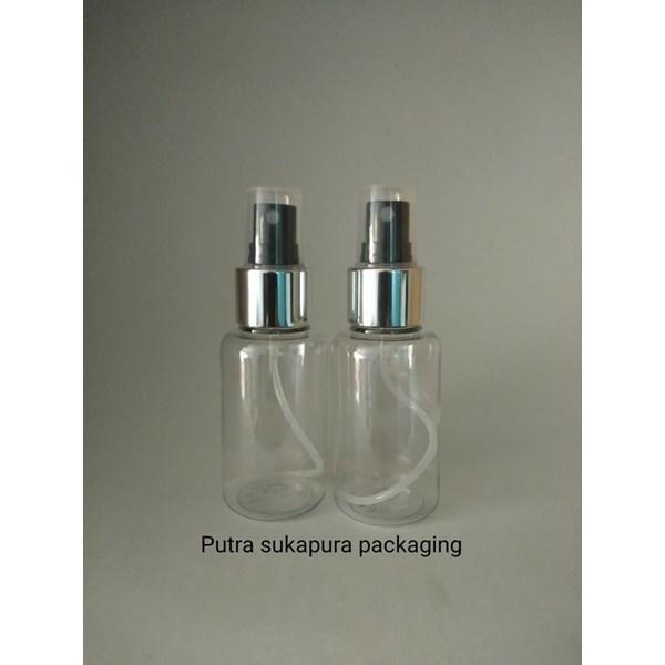 Botol Spray 70 ml Tubular Tutup Metal Silver