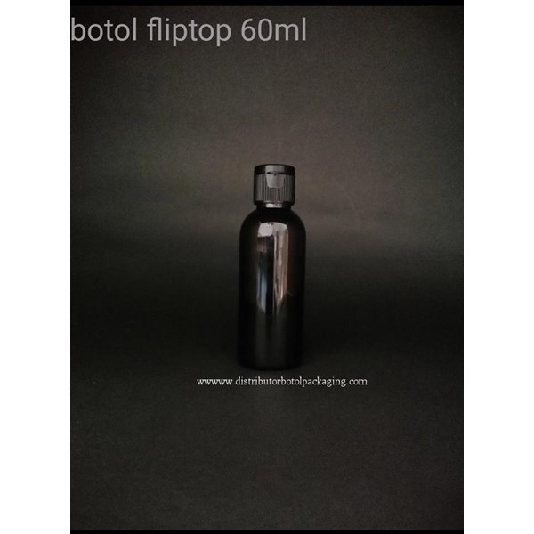 Botol Fliptop 60 ml Black Solid