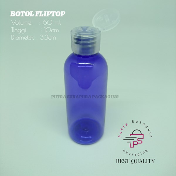 Botol Fliptop 60ml Violet Tutup Natural