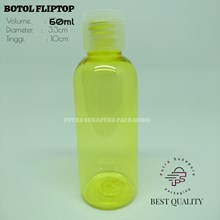Botol Fliptop 60ml Kuning Tutup Natural