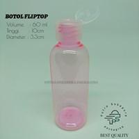 Botol Fliptop 60ml Pink Tutup Natural