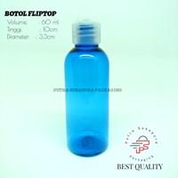 Botol Fliptop 60ml Biru Tutup Natural