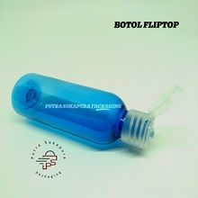 Botol Fliptop 60ml Biru Tutup Natural