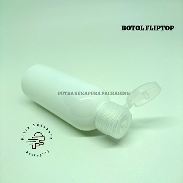 Botol Fliptop 60ml Putih Tutup Natural