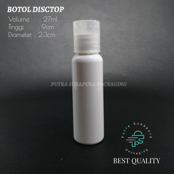 Botol Disctop 27ml Putih Solid Tutup Natural