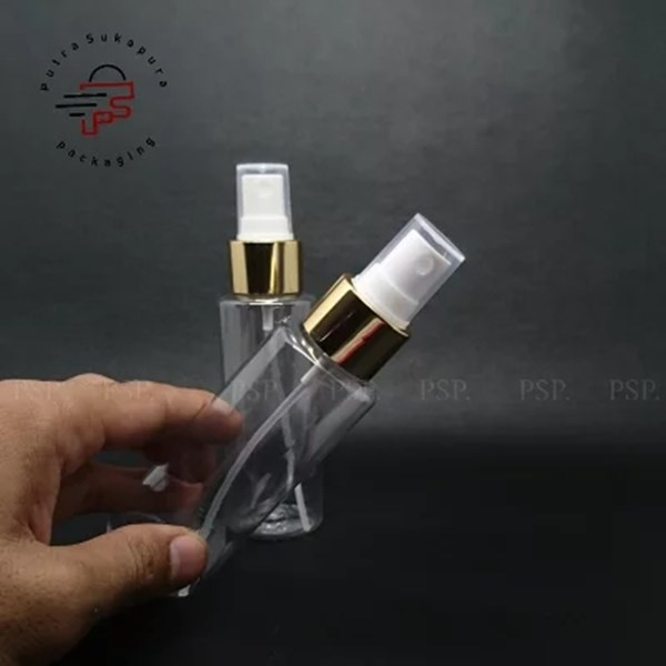 BOTOL SPRAY RF 100 ML CLEAR TUTUP GOLD