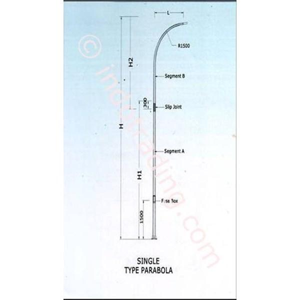 Tiang PJU / Tiang Lampu Jalan Oktagonal Single Tipe Parabola