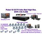 Paket CCTV 16 Camera CCD Sony Effio 750 TVL Infra Red with Hybrid DVR connectingh to HDMI 1