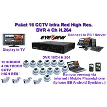 Paket CCTV 16 Camera CCD Sony Effio 750 TVL Infra Red with Hybrid DVR connectingh to HDMI