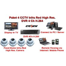 Paket CCTV 4 Kamera Infra Red High Resolusi Effio-E 750 TVL Hard Disk 1 TB Original Made in Taiwan