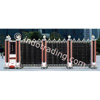 Aluminium Retractable Electronic Folding Gate Cd-05B Model Mewah